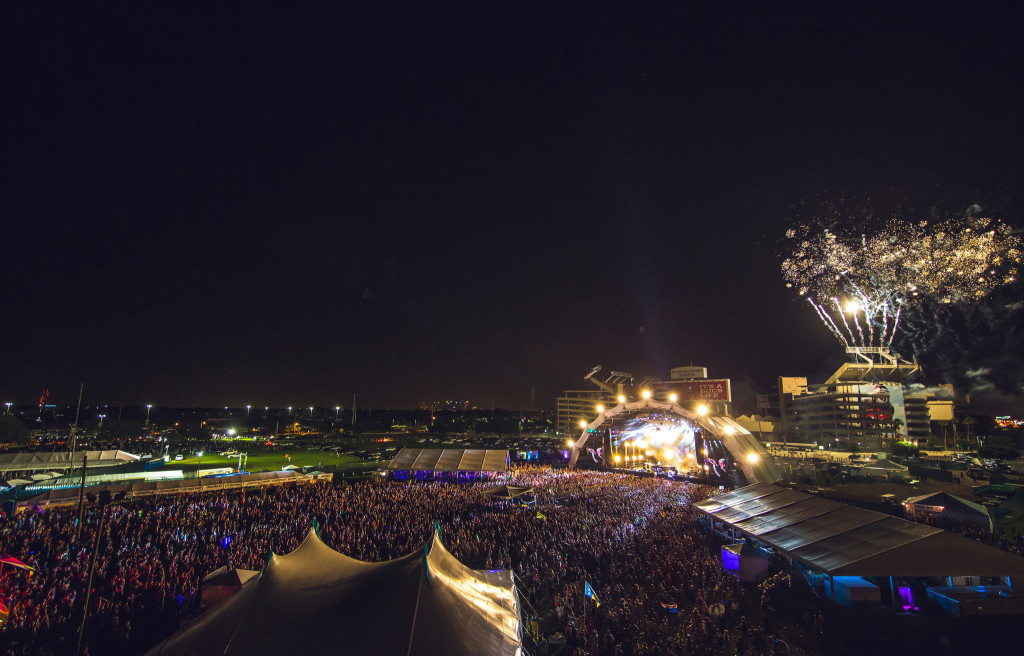 Fireworks over main stage at Sunset Music Festival 2015