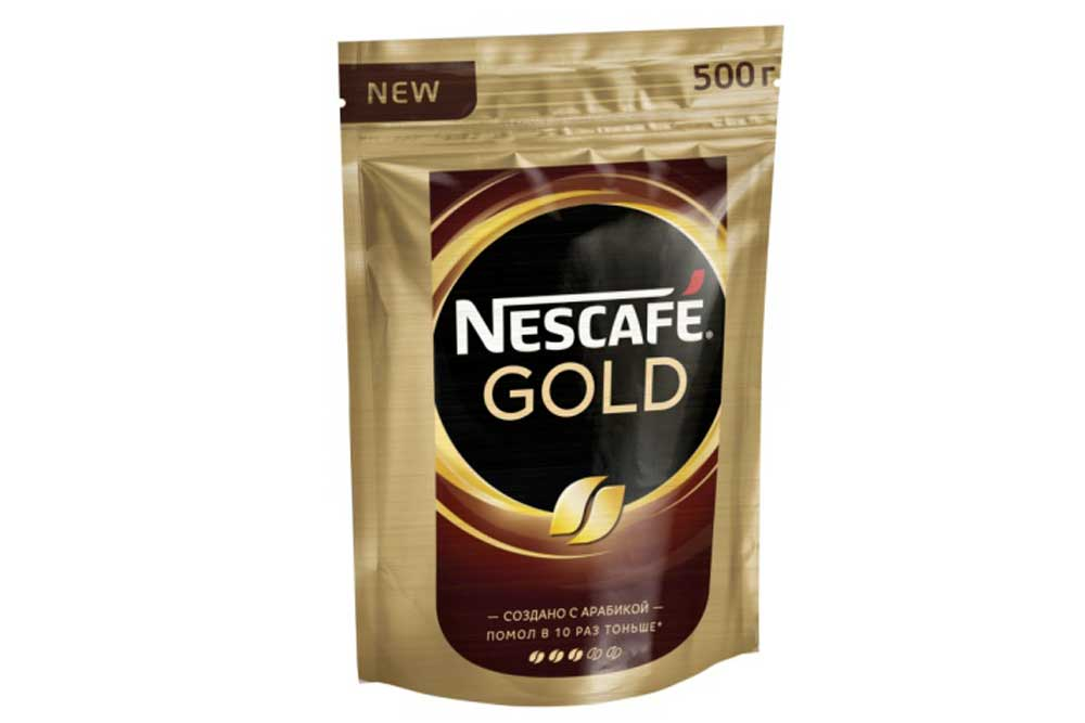 Кофе Nescafe Gold 500г пакет растворимый с добавлением молотого Россия