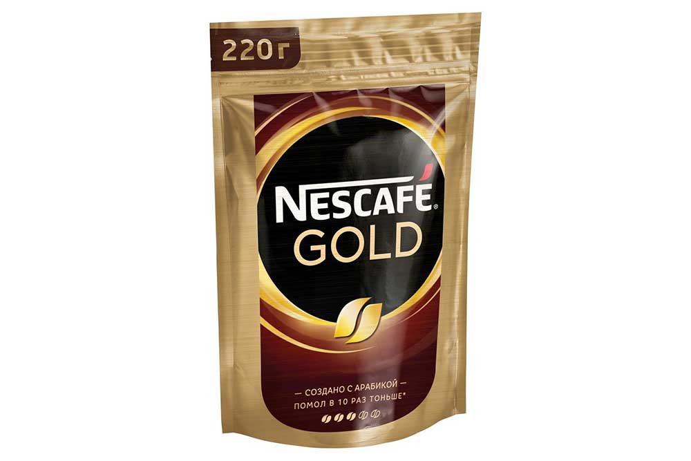 Кофе Nescafe Gold 220г пакет растворимый сублимированный Россия