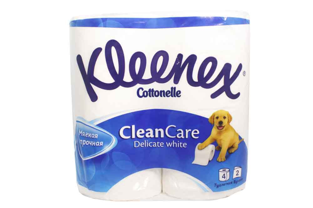 Туалетная бумага Kleenex Cottonelle Clean Care Delicate White. 2сл. 4рул Россия