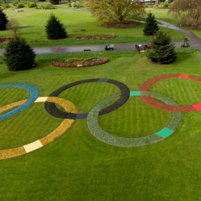 Olympic rings outside orangery