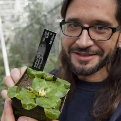 Carlos Magdalena with the tiny waterlily