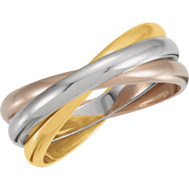 estate 14k white yellow pink tri color gold 3 band rolling