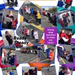 Maths fun measuring and recording our race times.
