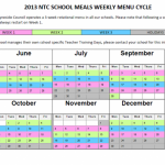 School Meals Menu Summer 2013