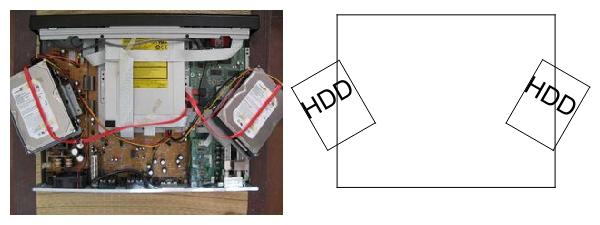 HDDを外した所