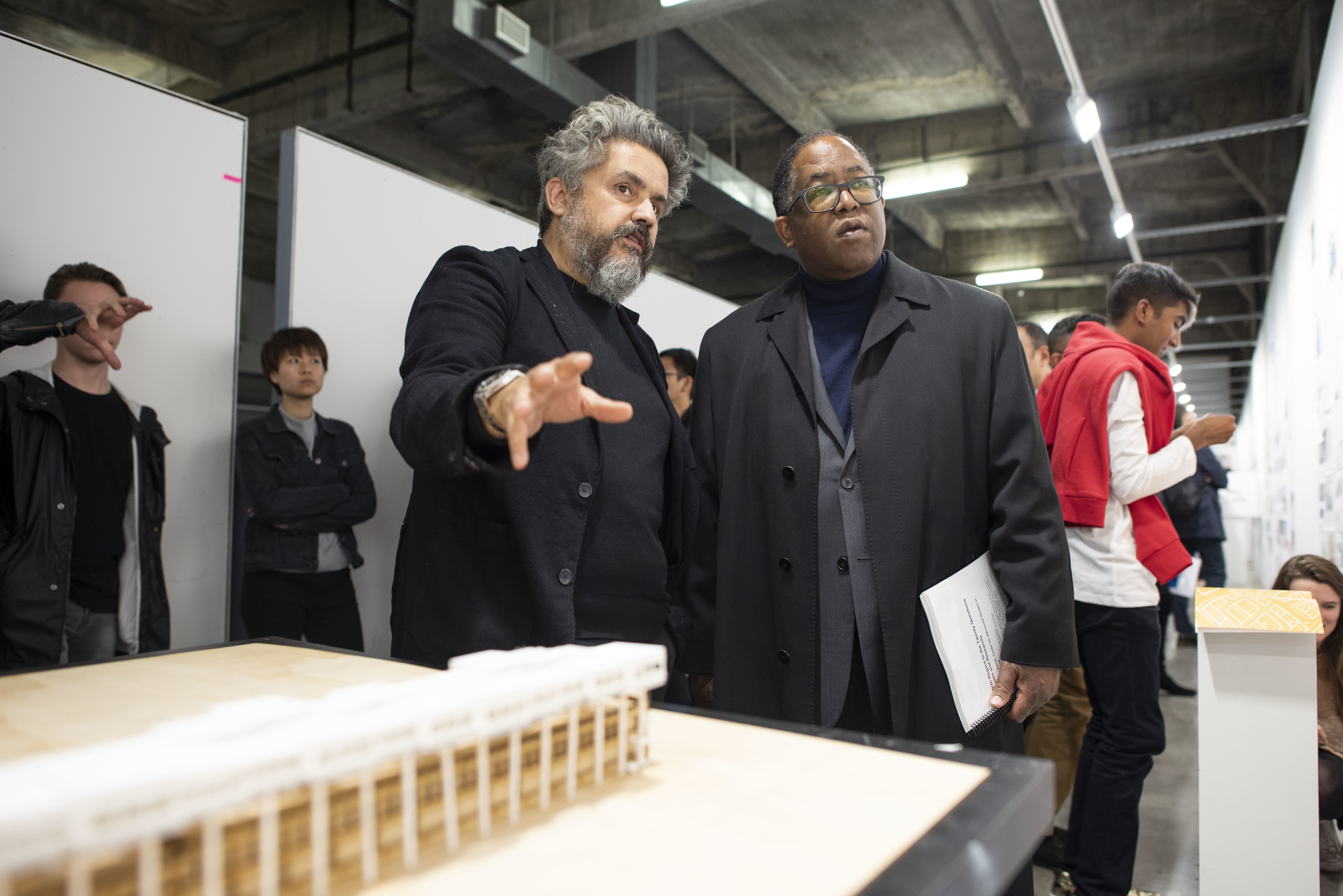 Hernan Diaz Alonso with Mark Ridley-Thomas, Los Angeles County Board of Supervisors for the 2nd District, at the SCI-Arc Homelessness Charrette in January 2019