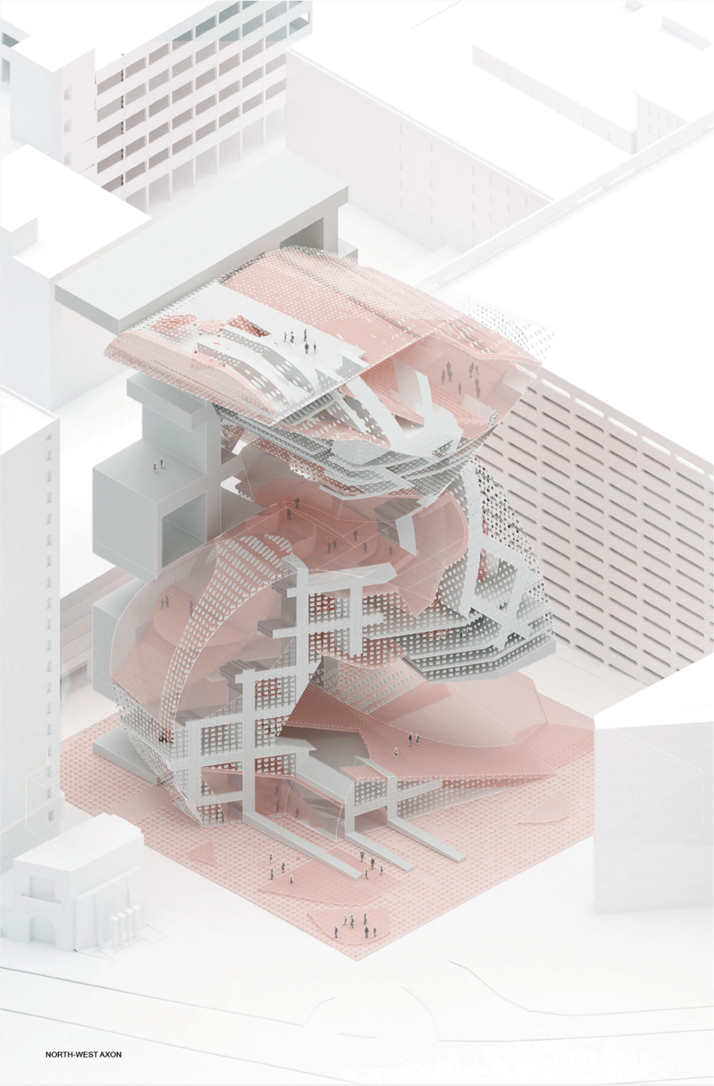 light pink architecture library render