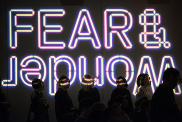 fear and wonder retro digital text projection