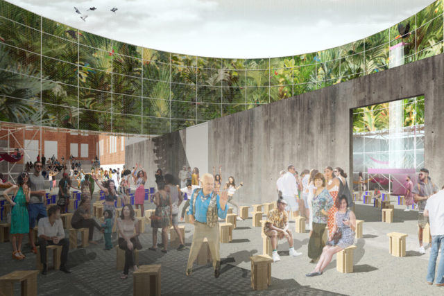 rendering of people glass atrium wooden stools foliage
