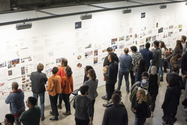 students and professors investigate pin-up north gallery