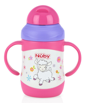 Nuby Stainless Steel Twin Handle Insulated Straw Cup 220ml - Lamb image