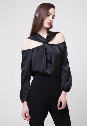 Fiona Twisted Satin Top Black
