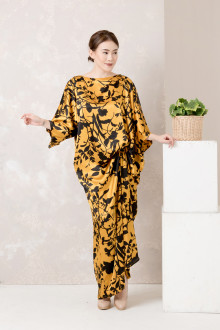 Black Gold Floral Side Draped Kaftan