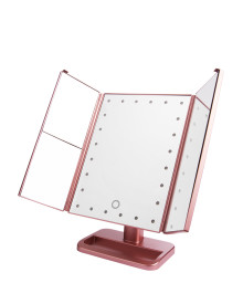 24LED 3Way Foldable Standing Mirror - Rose Gold