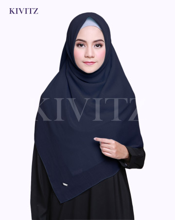 VOAL PLAIN SCARF (Navy) image