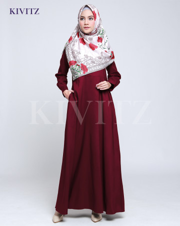 BASIC DRESS - Maroon image