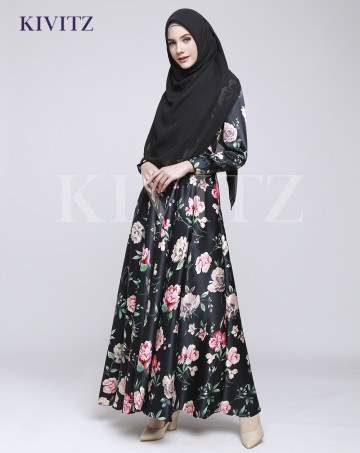 FLORAL UMBRELLA DRESS (Black) image