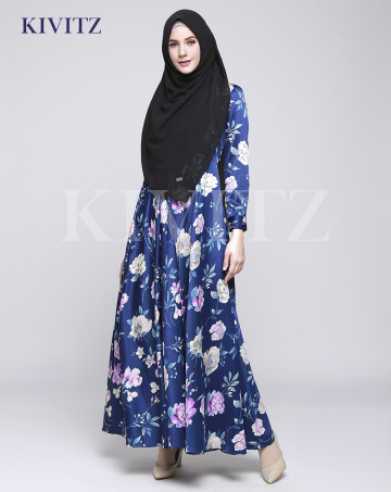 FLORAL UMBRELLA DRESS (Navy) image