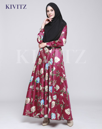 FLORAL UMBRELLA DRESS (Maroon) image