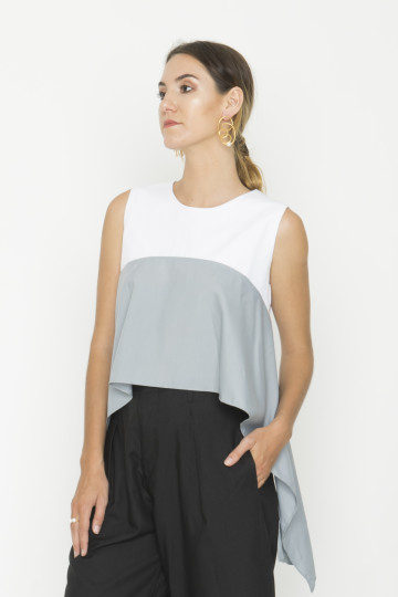 Sleeveless Flow Top in White and Grey