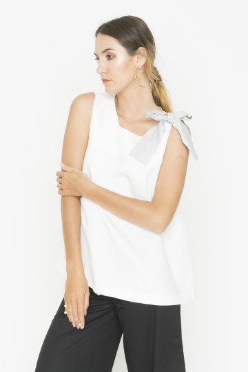 White Peppy Tie Top