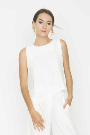 White Side Drape Top