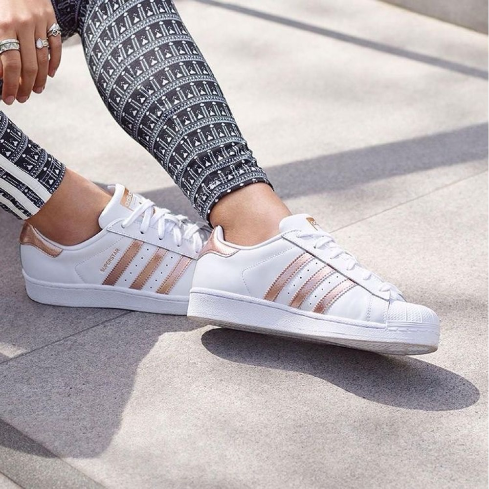 adidas superstars with rose gold stripes