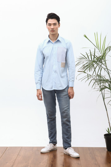 Nabe Two Patches Shirt in Soft Blue
