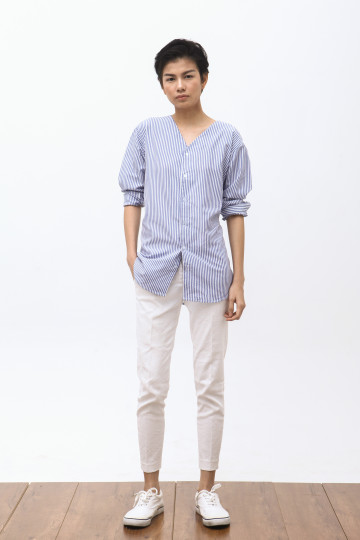 Hira Long Sleeve Shirt in Stripe Blue