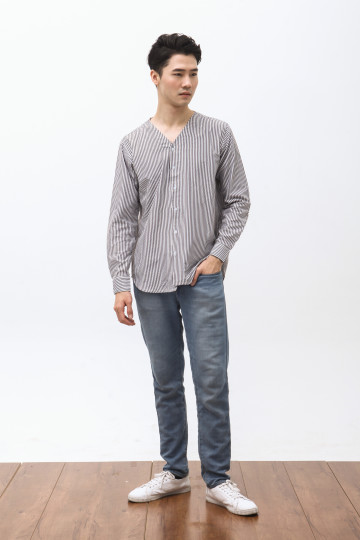 Hira Long Sleeve Shirt in Stripe Black