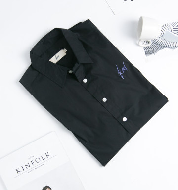 Kai Embroidery Classic Shirt in Black