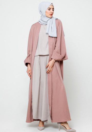 LOOSE SHALL ABAYA in DUSTY