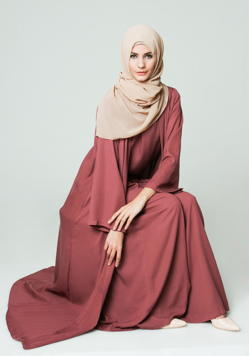 LOOSE ABAYA AND INNER SET TOP  CULLOTES PANTS  in PURPLE