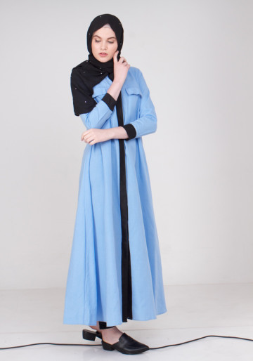 LONG BUTTON ABAYA in BABY BLUE
