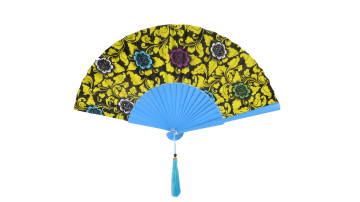 Motive Silk Fan Yellow Blue Flower image