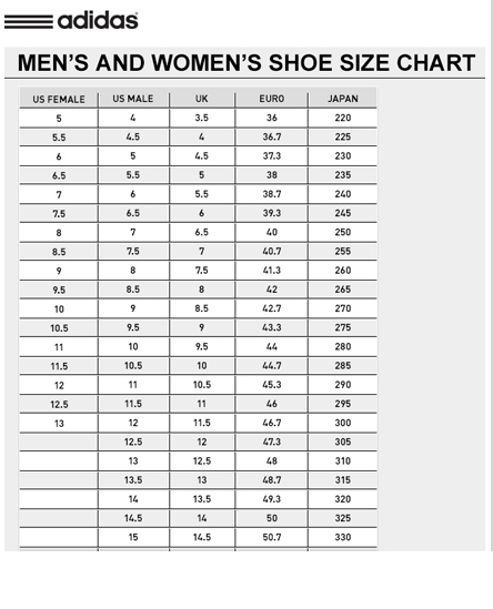 Womens Shoe Size Conversion Chart