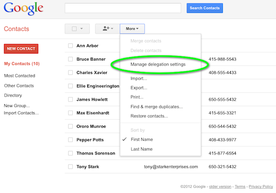 Manage contacts delegation