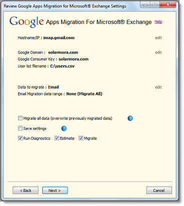 Gmail IMAP migration step 4 with GAMME