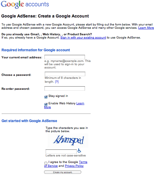 Create a Google Account form