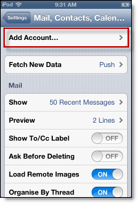 add mail, calendar, and contacts account on iphone