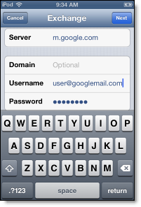 enter Exchange server for Gmail