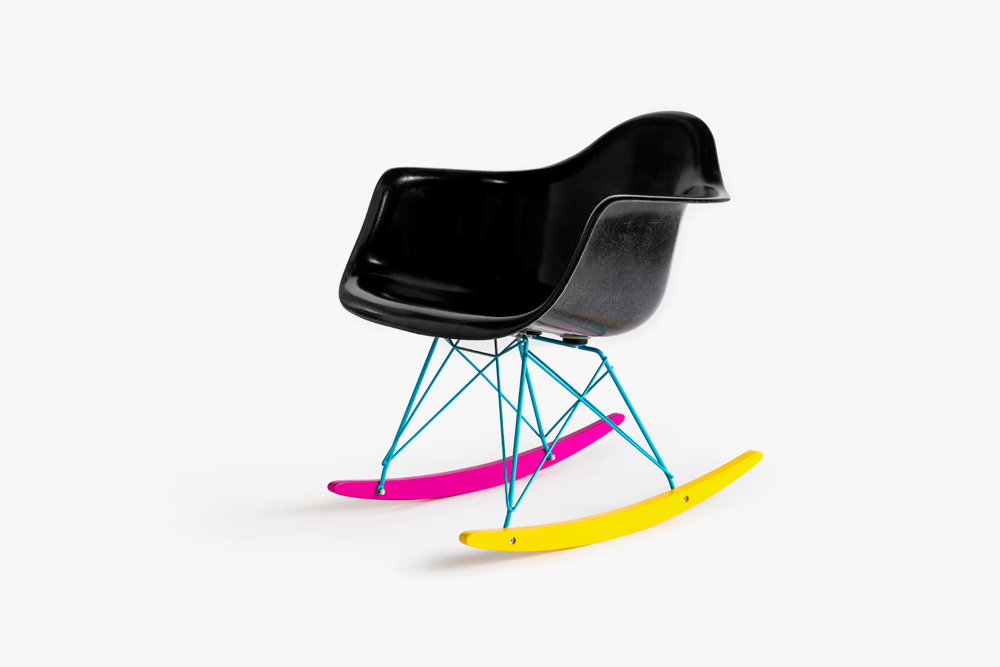The Hundreds X Modernica U201cCMYKu201d Fiberglass Arm Shell Rocker Features A  Black Shell, Cyan Wire, And Magenta And Yellow Rockers, Available In  Ultra Limited ...
