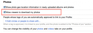 Allow viewers to download my photos setting in Google+