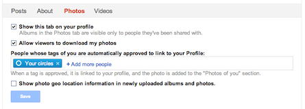 Google+ profile Photos tab settings