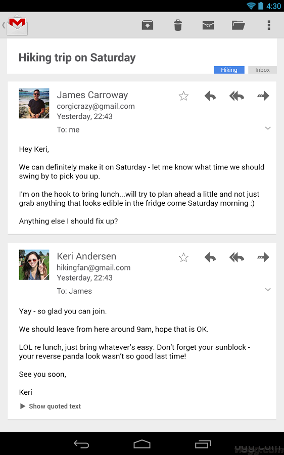 Gmail Card Layout and Conversation List View Android App Updated