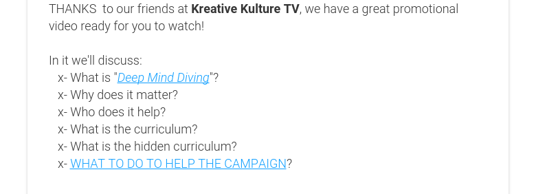 THANKS  to our friends at Kreative Kulture TV, we have a great promotional video ready for you to watch!    In it we'll discuss:   x- What is