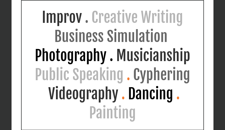 Improv . Creative WritingBusiness Simulation Photography . Musicianship Public Speaking . Cyphering  Videography . Dancing . Painting