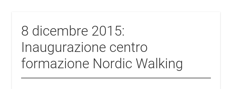 8 dicembre 2015: Inaugurazione centro formazione Nordic Walking