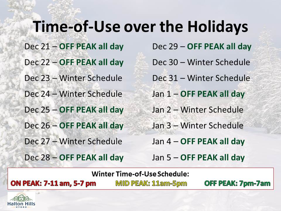 Time-of-Use over the Holidays